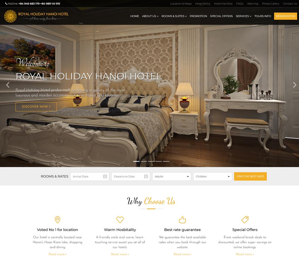 Thiết kế website hotel hostel khách sạn