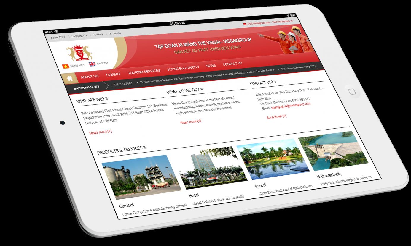 Thiết kế website Tập đoàn The Vissai