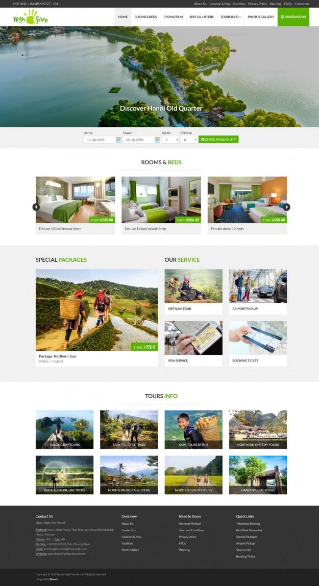 Thiết kế website khách sạn Hanoi High Five Hostel