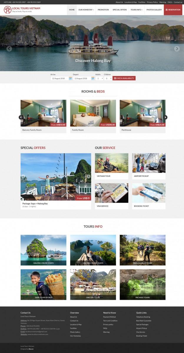 Thiết kế website khách sạn và du lịch Local Tours Vietnam