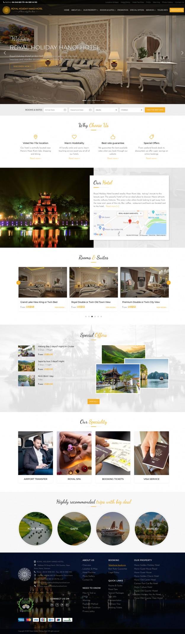 Thiết kế website khách sạn ROYAL HOLIDAY HANOI HOTEL