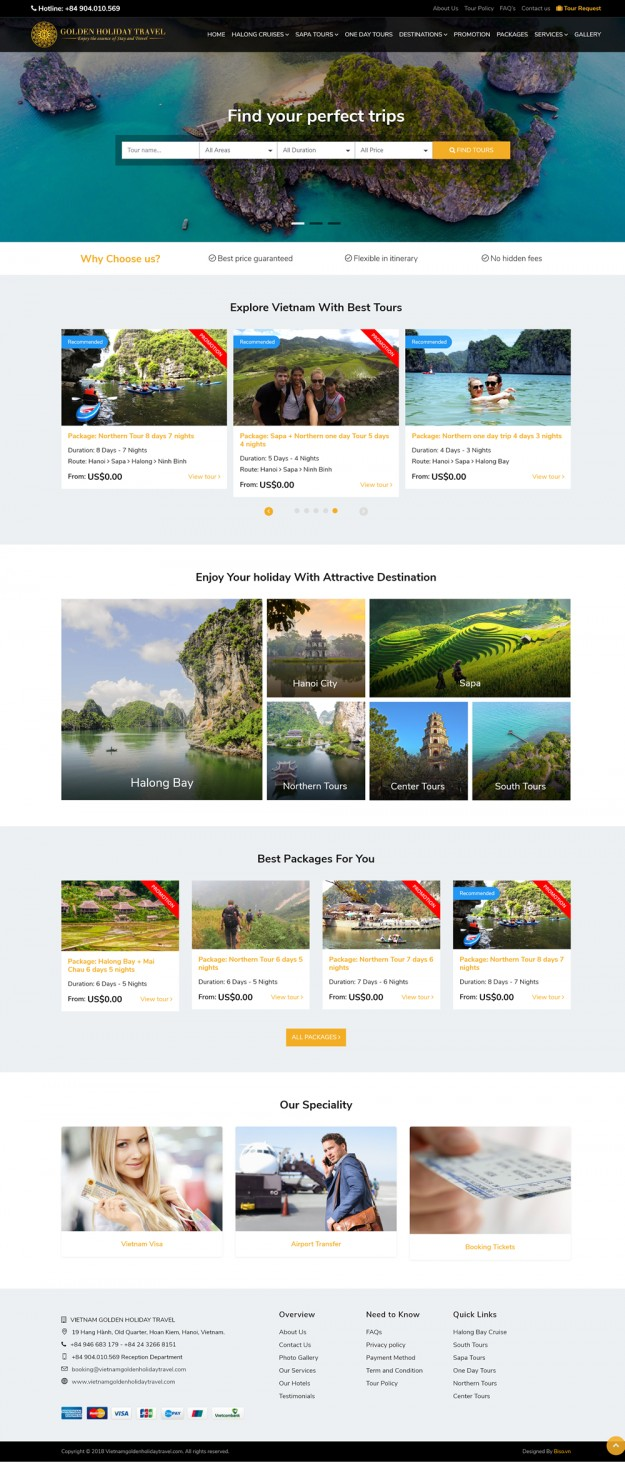 Thiết kế website Tour du lịch Viet Nam Golden Holiday Travel