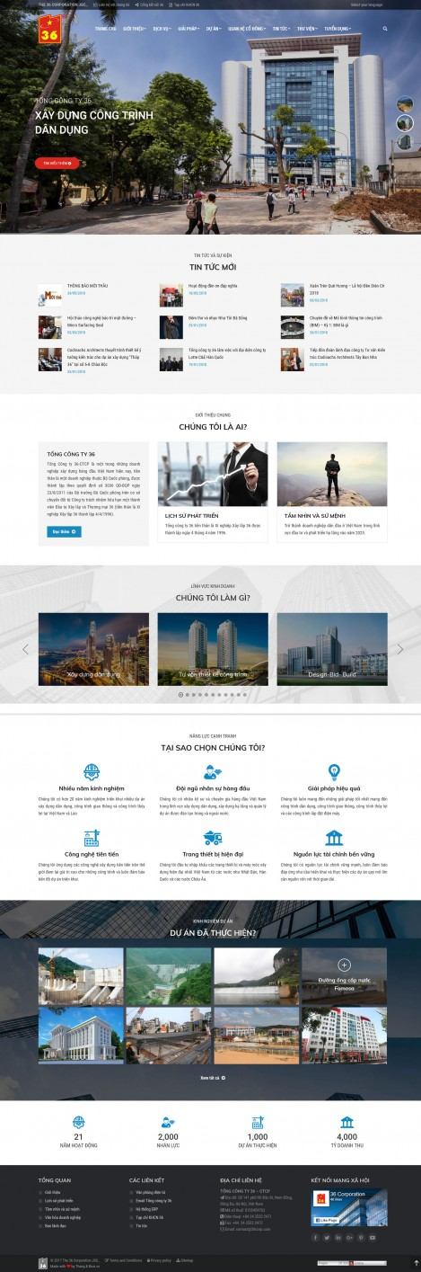 Thiết kế website tổng công ty 36